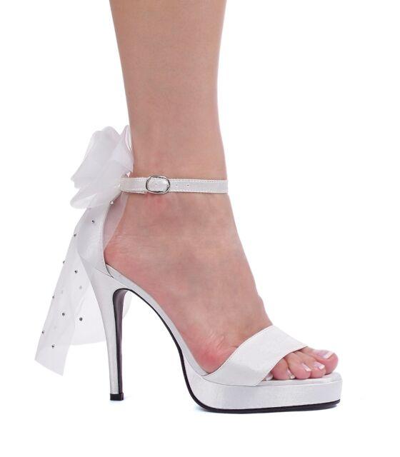 """White Sandals Ankle Strap 1/2"""" Platform 4.5"""" Bridal Veil Heel Ellie 451-Bride 5M"""