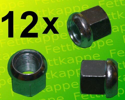 Kugelbundmuttern 12x Kugelbundmutter M22x1,5 DIN 74361 A verz Radmutter