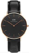 Daniel Wellington Watch * DW00100139 Classic Black Sheffield 36MM Black Leather