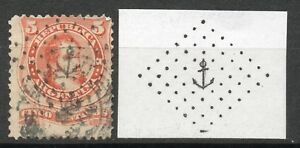 """#1443 Rapture Argentina French """"anchor"""" Dated Cancel : Sc.20 V.f Used Extremely Rare"""