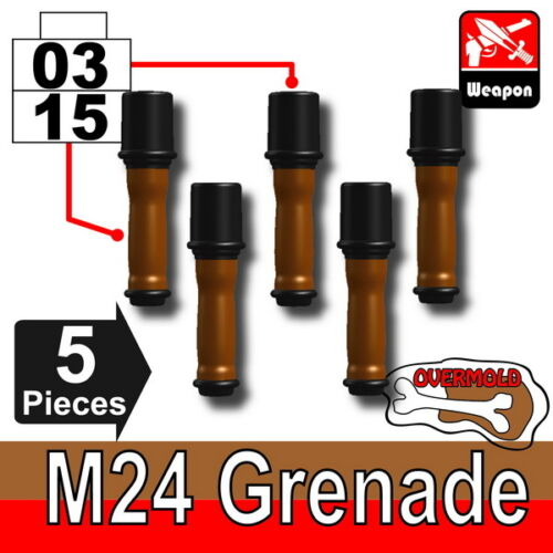 German WW2 Grenade Pack compatible w//toy brick minifig 5 x Overmolded M24 W167