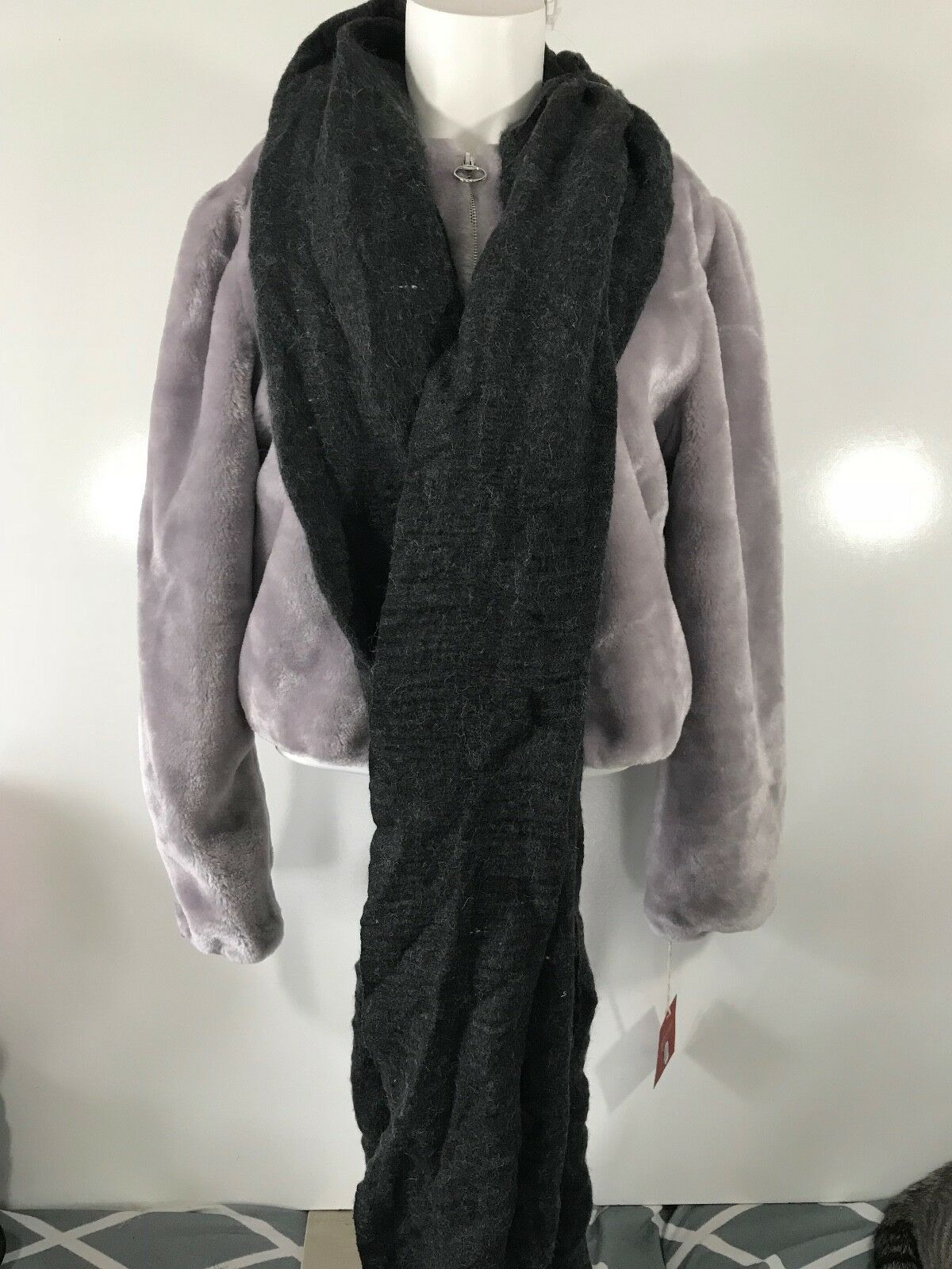 A New Day Long Rectangular Charcoal Gray Winter Scarf with Fringe on Both Ends