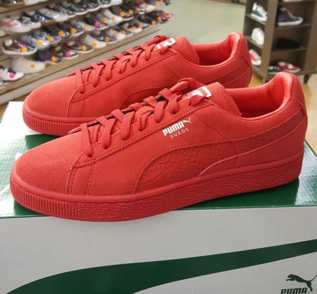 PUMA Mens Suede Classic Mono Reptile Fashion Sneaker High Risk Red ... 92002bb1c