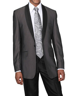 Men's Two-Piece One Button Slim Suit with Shawl Collar in Black Gray Navy 5601