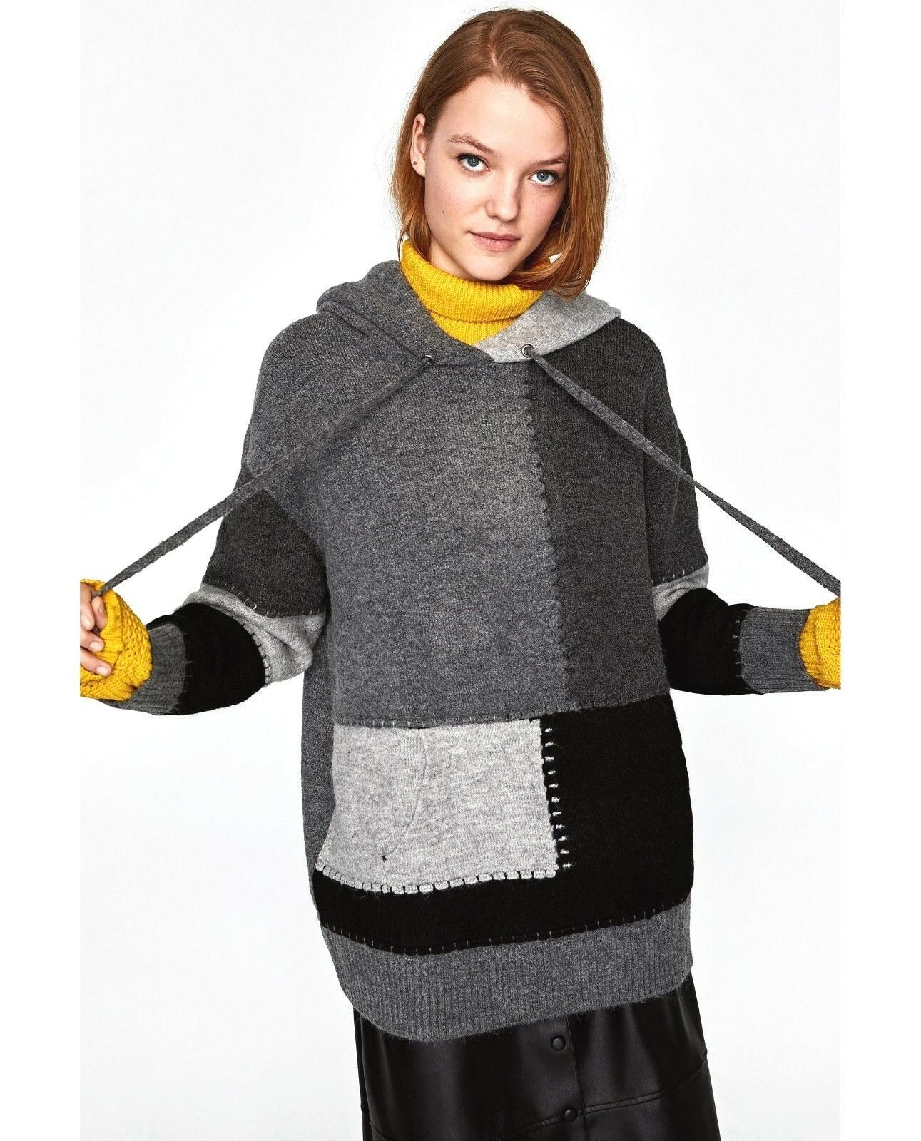 ZARA DARK GREY RELAXED FIT PATCHWORK PATCHWORK PATCHWORK KNIT SWEATER JUMPER WITH HOOD SIZE S d60231