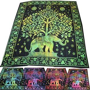 Tagesdecke-Bettueberwurf-Baumwolle-Dekotuch-210x230-Batik-ELEFANT-TREE-Rainbow-1