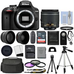 Nikon D3400 Digital SLR Camera Black + 3 Lens: 18-55mm Lens + 16GB Bundle