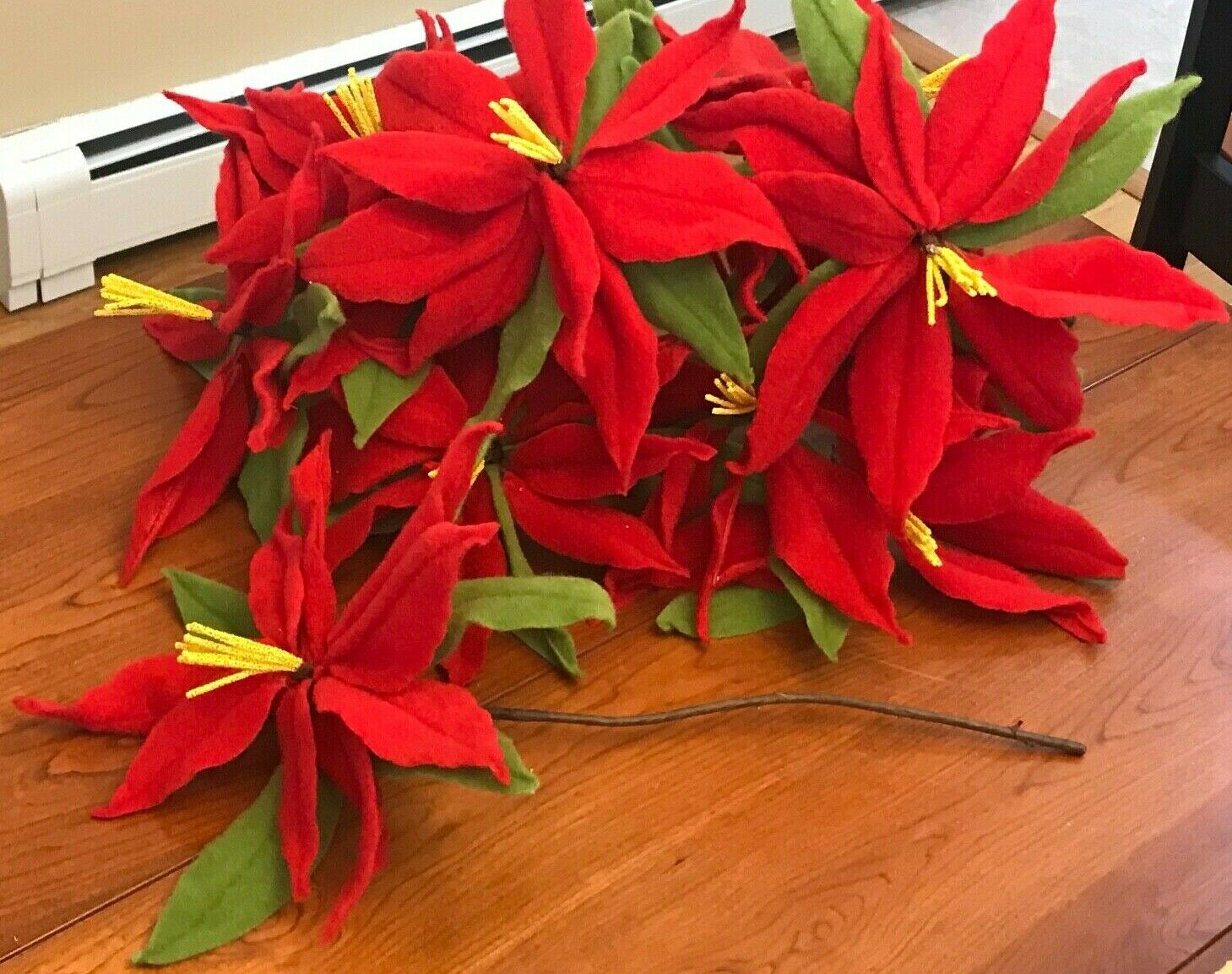 Poinsettias Retro Stems Wire Wrapped 14 15 Flowers 12 Lrg 9 Stems
