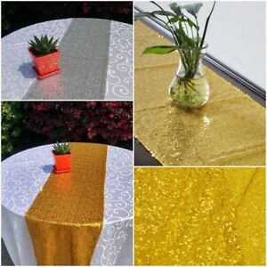 12-034-x108-034-Gold-Silver-Sequin-Table-Runner-Wedding-Party-Chrismas-Table-Decoration
