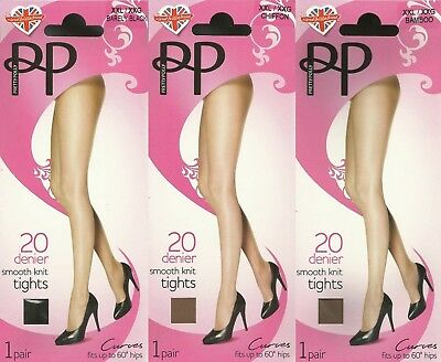 up to XXL 3,Pairs Ladies Pretty Polly 20 Denier smooth knit everyday tights