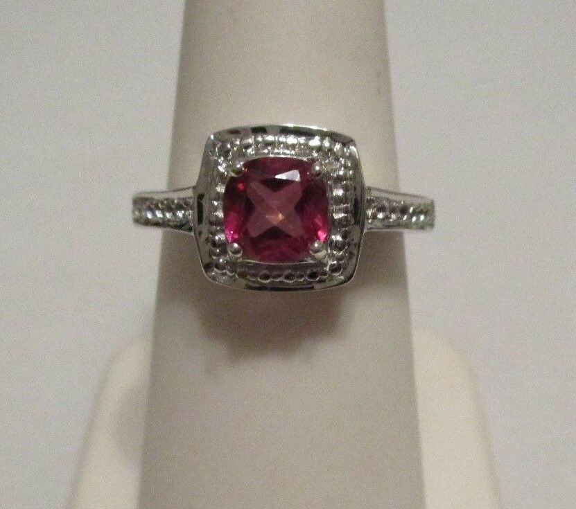 Size 5  1.27ct Pretty Pink & White Topaz Gemstone Ring Cushion