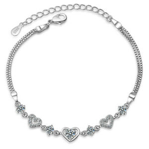 925-Sterling-Silver-Zircon-Love-Heart-Chain-Bracelet-Romantic-Xmas-Birthday-Gift