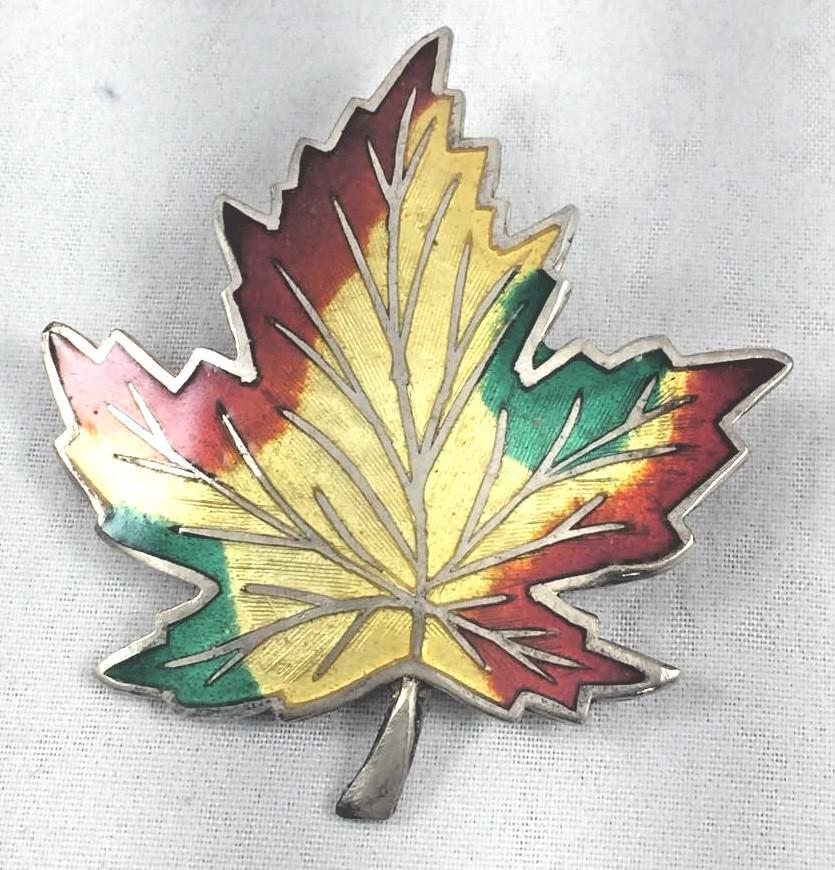 BM & Co Sterling & Enamel Maple Leaf Brooch Pin