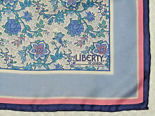 """VINTAGE LIBERTY OF LONDON SILK SCARF Blues Pink Ivory Floral w/Birds 27"""" Nice"""