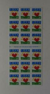 US SCOTT 2813a BOOKLET OF 18 LOVE HEART SUNRISE STAMPS 29 CENT FACE MNH