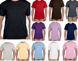 Shirt-Crew-Neck-Short-Sleeve-T-Plain-Cotton-Blank-Solid-Sm-5X