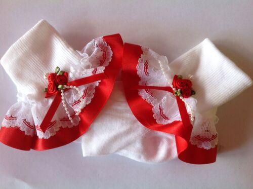 Handmade Red roses baby//girls frilly socks various sizes