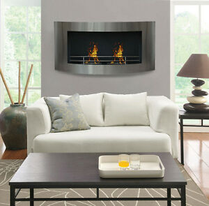 48 Curved Wall Mount Stainless Steel Modern Ethanol Fireplace