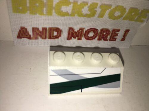 1x Slope Pente 2x4 4x2 Dark Green Stripes Pattern Set 7868 3037pb017R Lego