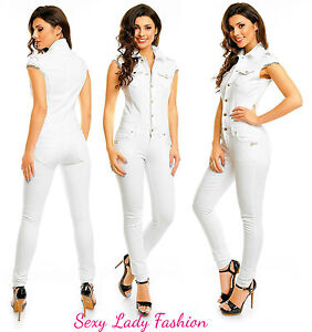 Womens White Sexy Denim Jeans Jumpsuit Overall Party Bodycon Slim