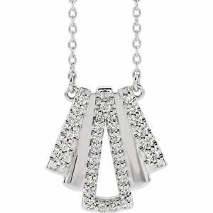 Details zu Diamant Art Déco Halskette IN 14K Weiss Gold (14 CT Tw