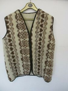Body-Warmer-Zip-Up-Sleeveless-Jacket-Ladies-Size-M-Wool-Cream-amp-Brown-Hippy-Look