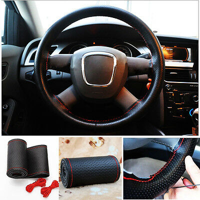 Car Truck Leather Steering Wheel Cover With Needles and Red Thread Black NEW