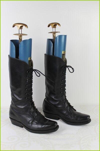 VINTAGE Bottes à lacets GOWEST Tout Cuir black T 36,5   TBE
