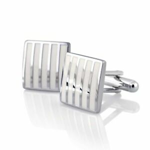 Silver-Men-039-s-Wedding-Party-Smooth-Cufflinks-Stripe-Cuff-Links-Mens-Cufflinks
