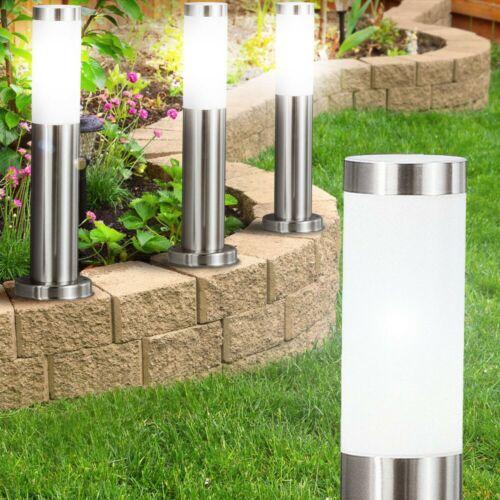 2er Set LED Außen Steh Leuchten Garten Weg Beleuchtung Edelstahl Stand Lampen