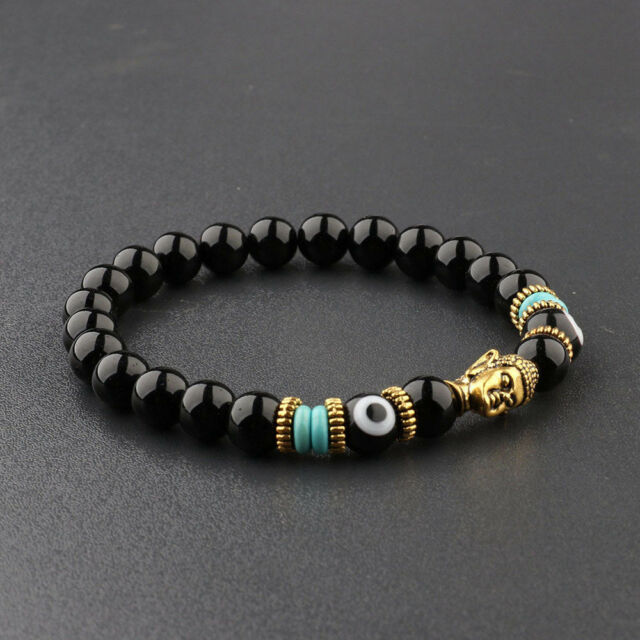 Mens Natural Obsidian Eyes Beads Gold Gasket Charm Buddha Head Fashion Bracelets