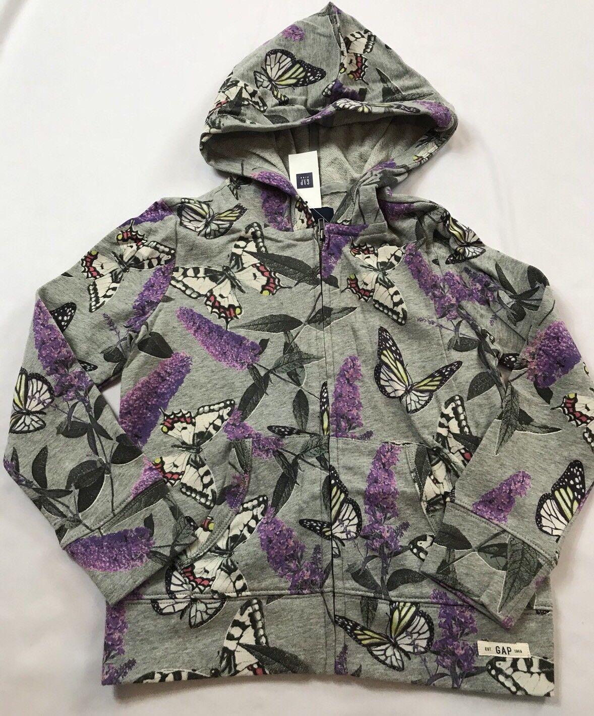 Veste à capuche zippée à capuche floral papillon grise pour enfants 6-7 ans gris