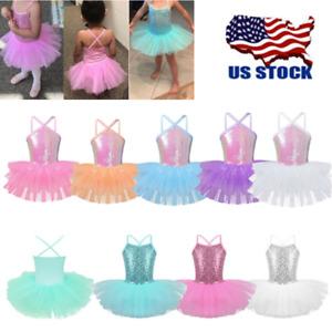 US-Girls-Shiny-Ballet-Dance-Leotard-Lyrical-Tutu-Dress-Gymnastics-Skirts-Costume