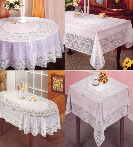 New Vinyl White Oval Rectangle Square Round Embossed Lace