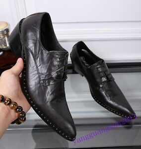 Retro Mens Shoes Pointed Toe Leather Lace Up Cuban Heels Dress Formal Chic Dress