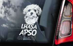 Lhasa-Apso-a-Bordo-Coche-Ventana-Pegatina-Perro-Signo-Arte-Regalo-Idea-de