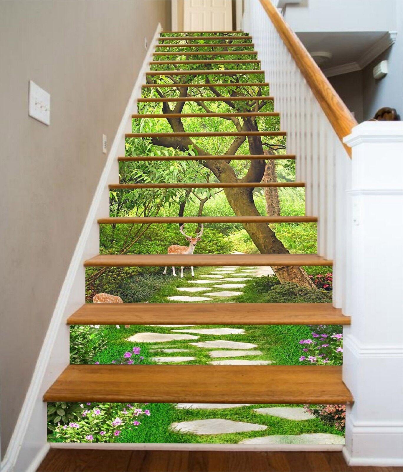 3D Trees Road 12 Stair Risers Decoration Photo Mural Vinyl Decal Wallpaper CA