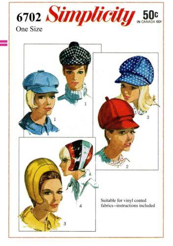 Simplicity #6702 4 Styles Hat Baseball Cap Fabric Sewing Pattern Helmet Newsboy