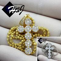 925 Sterling Silver Gold/silver 18-30x2mm Moon Cut Bead Chain Cross Pendant160