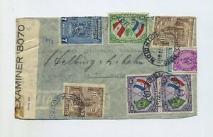 1943 Paraguay registered WWII cover double US / German censorship to Switzerland