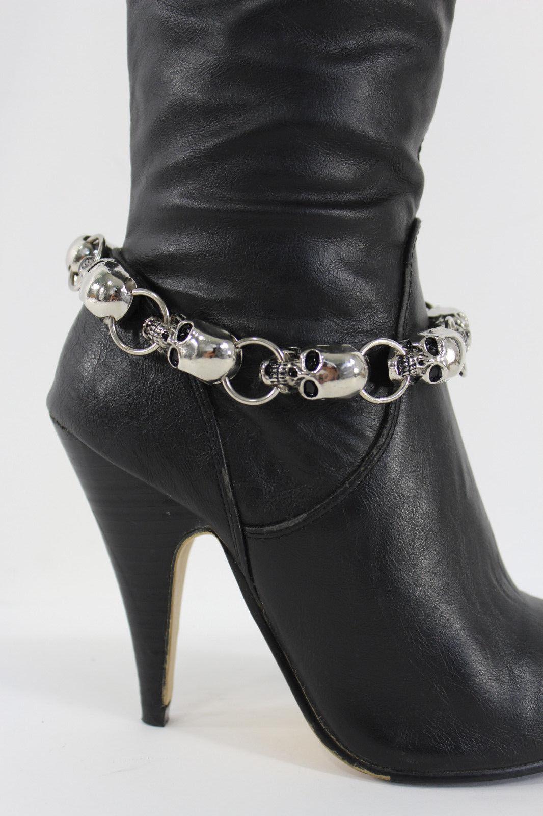 Women Boot Chain Bracelet Western Biker Charm Jewelry Silver Metal Skull Dressy