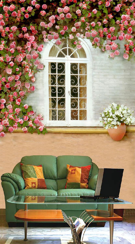 3D Rosa Rosa Fenster Fenster Fenster 89 Tapete Wandgemälde Tapete Tapeten Bild Familie DE Summer   Stil    Up-to-date-styling    Fierce Kaufen  88c4e3