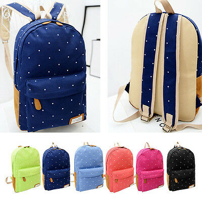 Women Girl Shoulder Bag Canvas Rucksack Polka Dot Women Backpack School Bookbags