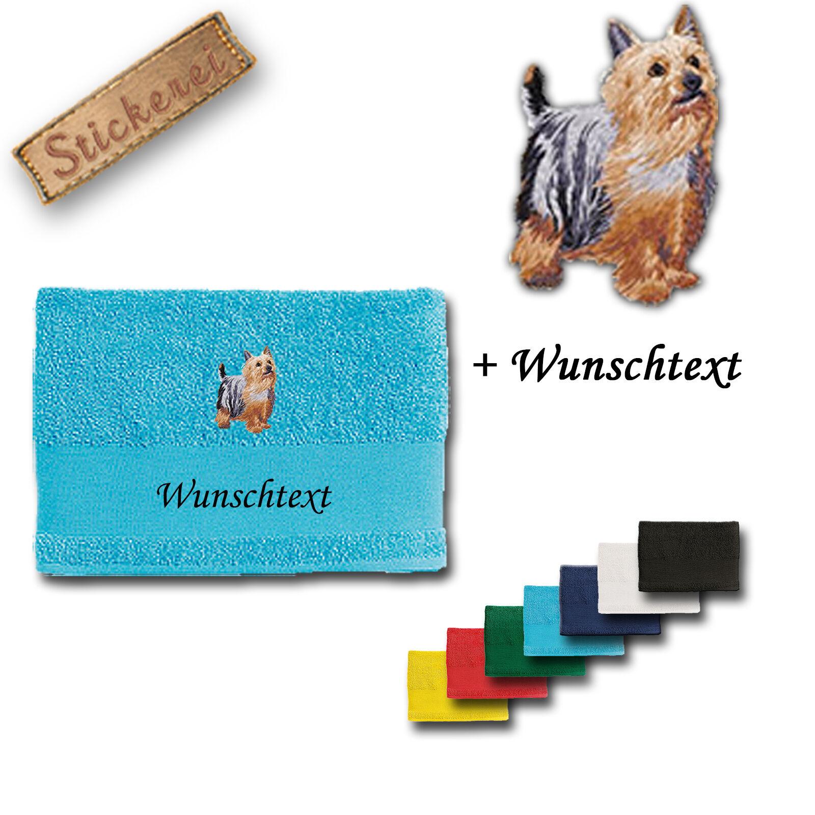 Bath Towel Cotton Embroidery Dog Australian Silky Terrier + Name