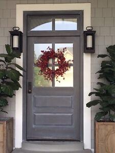 4 Lite Paint Grade Poplar Entry Door 36 X 80 With Transom EBay