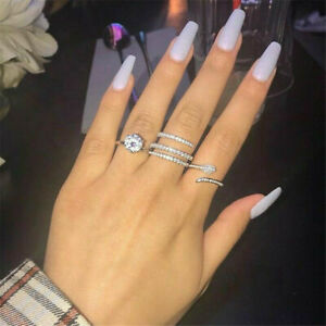 Fashion 925-Silver-Ring for Women-White-Sapphire Wedding-Jewelry Gift 6-10 HOT