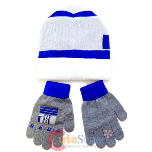 Star Wars R2D2 Cuff Beanie Hat Gloves Set Boys Girls Size