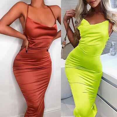 Vogue Women/'s Bandage Bodycon Sleeveless Leather Club Evening Party Midi Dress