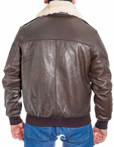 Bomber Menns Pilot Collar 2 Brown Leather Classic Flying A Sheepskin Jacket xIzwqIgra