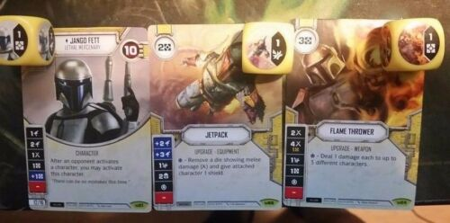 1x Jango Fett, Jetpack & Flame Thrower Star Wars Destiny with Dice NM New
